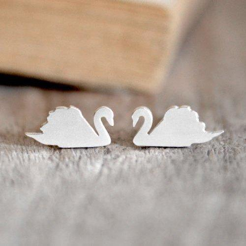 Swan Stud Earrings In Solid Sterling Silver, Swan Earring Studs