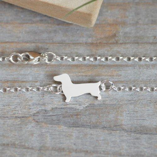 Dachshund Bracelet, Dachshund Anklet In Solid Sterling Silver, Handmade In England