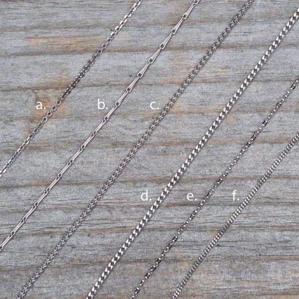 Solid 18ct White Gold Chain, Belcher Chain, Barleycorn Chain, Spiga Chain, Franco Chain, Curb Chain, Flat Cable Chain, Made In The UK