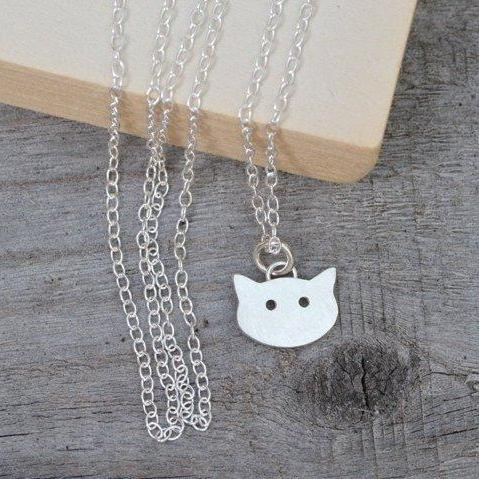 Cat Necklace, Kitten Necklace In Sterling Silver Handmade In The UK