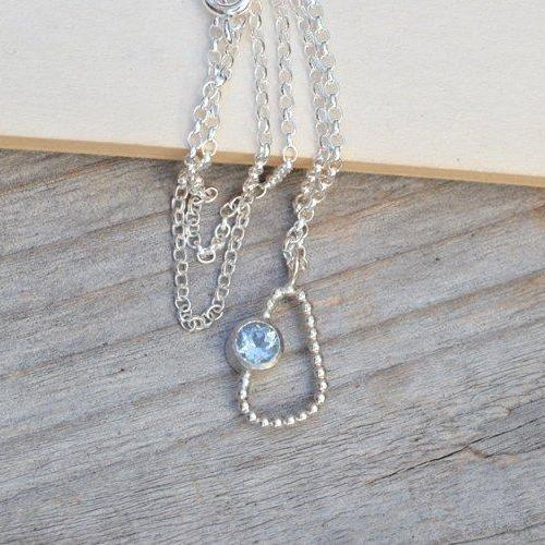 Baby Blue Topaz Necklace, Something Blue Wedding Gift, Unique Topaz Necklace, November Birthstone Necklace