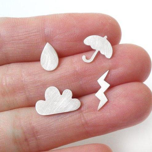 Weather Forecast Ear Studs (Set Of 4 Ear Studs) In Sterling Silver, British Weather Earring Studs Handmade In The UK