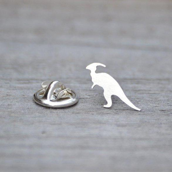 Parasaurolophus Dinosaur Pin In Sterling Silver, Handmade In The UK