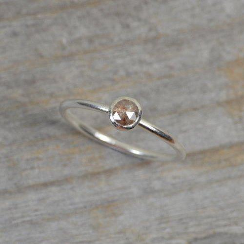 Rose Cut Diamond Engagement Ring, Diamond Stacking Ring Handmade In England