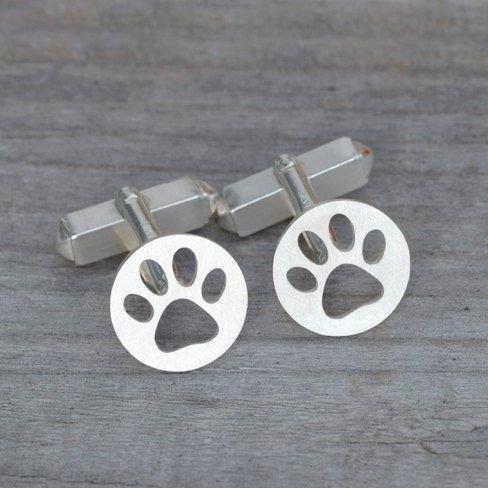 Hollow Pawprint Cufflinks In Sterling Silver, With Personalized Message On The Back, Handmade In The UK