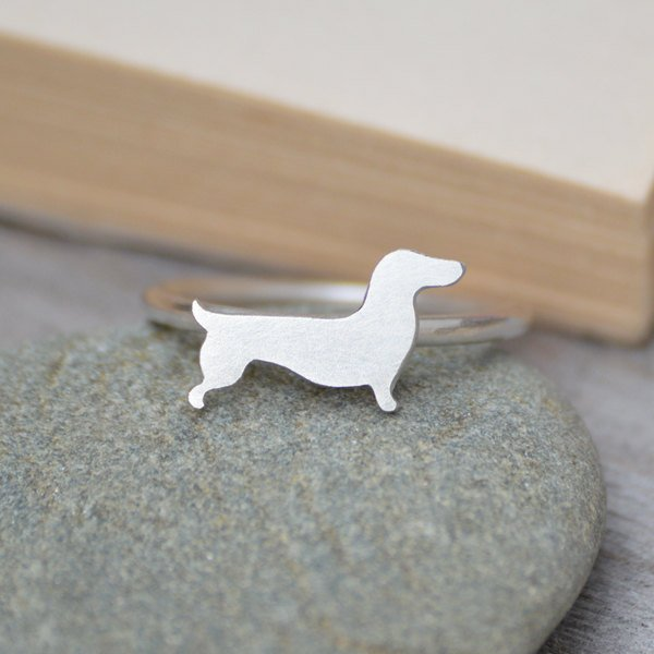 Dachshund Ring In Sterling Silver, Sausage Dog Ring, Handmade In The UK