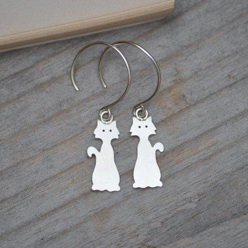 Cat Earrings In Sterling Silver, Kitten Dangle Earrings Handmade In The UK