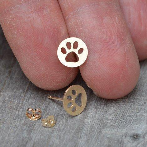 Hollow Pawprint Earring Studs In 9ct Yellow Gold, Pet's Pawprint Earring Studs, Handmade In England