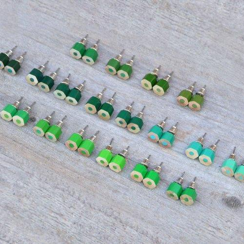 Green Color Pencil Ear Studs, Green Earring Stud, 18 Shades Of Green, Handmade In England