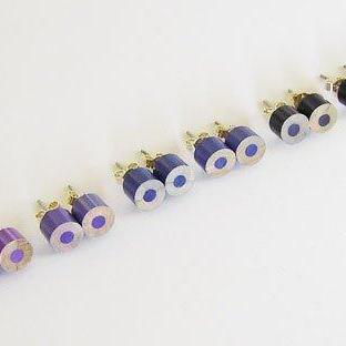 Color Pencil Ear Studs, The Blue And Purple Collection Pencil Jewelry, Handmade In The UK By Huiyi Tan
