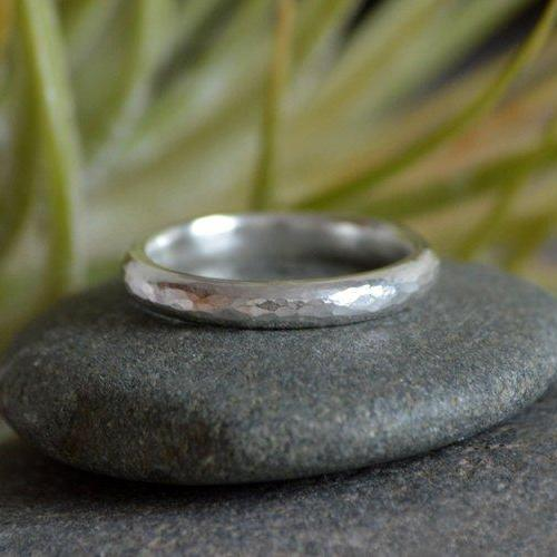 Hammered Effect Wedding Band, 3mm Diameter Rustic Wedding Ring