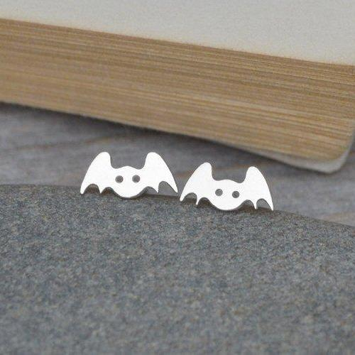 Bat Earring Studs In Sterling Silver, Animal Earring Studs, Handmade In The UK
