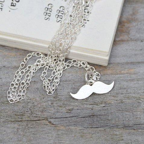 Mustache Necklace In Sterling Silver, Handmade In The UK