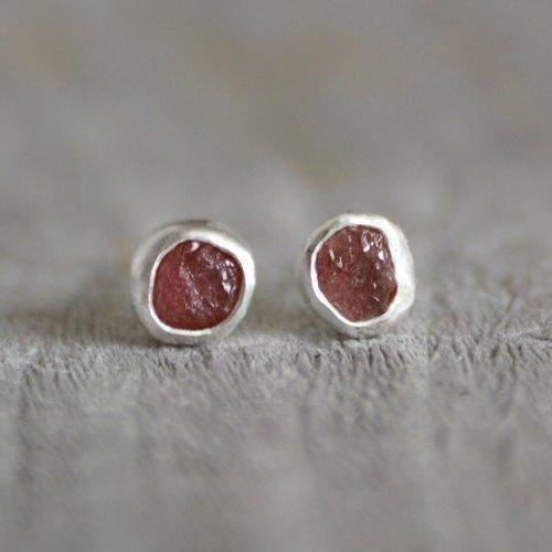 Raw Ruby Earring Studs, Total 1ct Rough Ruby, Ruby Wedding Gift, July Birthstone, Handmade In England