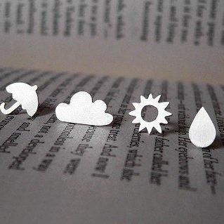 Weather Forecast Ear Studs (1 Pair) In Sterling Silver, British Weather Earring Studs, Handmade In The UK