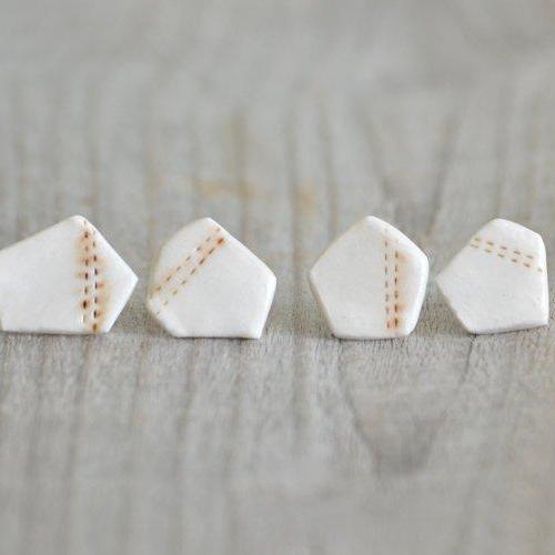 Unique Pentagon Porcelain Stud Earrings In Ivory And Brown, One Of A Kind Stud Earrings, Handmade In The UK
