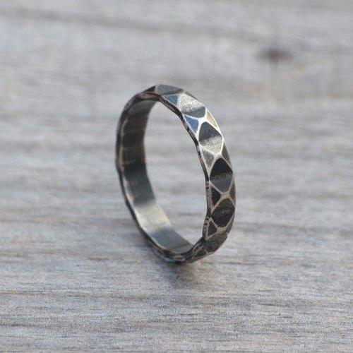Harlequin Textured Ring In Antique Style, Stacking Ring In Sterling Silver, 3.4mm Wide Handmade Ring