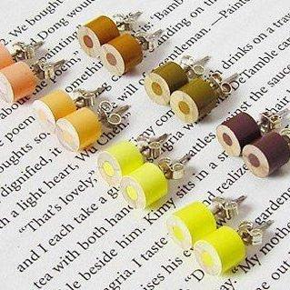 Color Pencil Ear Studs, The Yellow And Brown Series Pencil Jewelry Handmade In England By Huiyi Tan