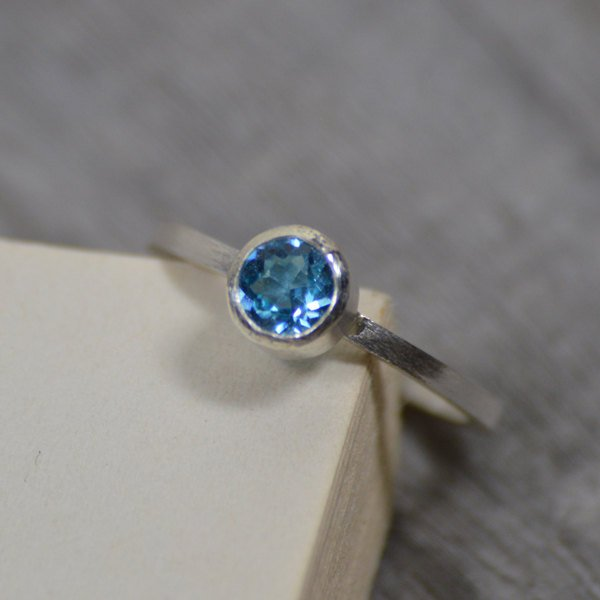 Blue Topaz Ring Set In Sterling Silver, Topaz Stacker Or Solitaire Ring, Blue Topaz Engagement Ring, November Birthstone Ring