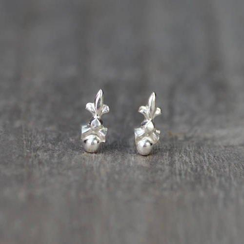 Tiny Fleur De Lis Earring Studs, Small Earring Studs In Sterling Silver, Handmade In England