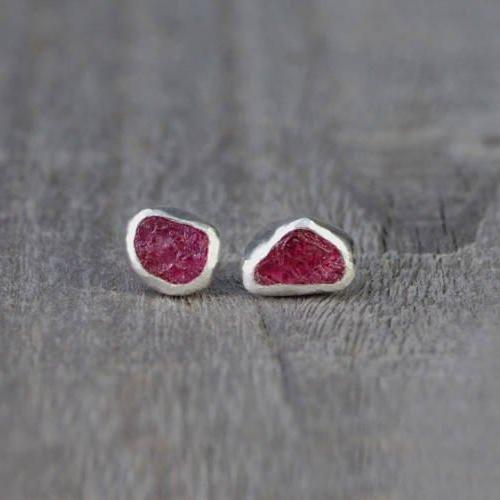 Raw Ruby Earring Studs, Total 1.2ct Rough Ruby, Ruby Wedding Gift, July Birthstone, Handmade In England