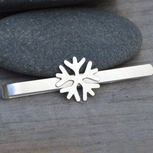 Snowflake Tie Clip In Solid Sterling Silver, Wedding Tie Clip, Personalized Tie Clip, Handmade Gift For Man